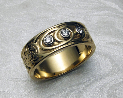 Custom, Celtic band with diamonds.