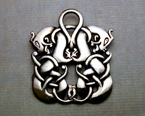 Viking, double dragon brooch.