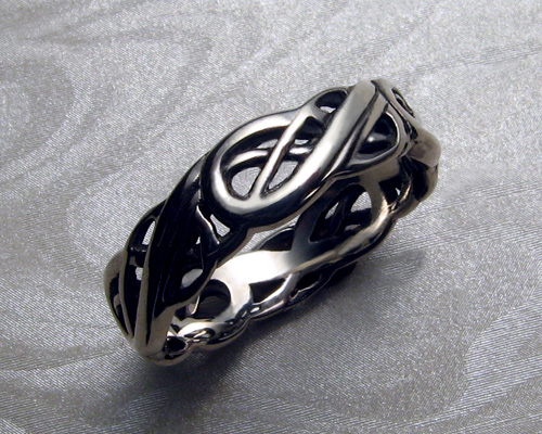 viking wedding ring with open knot work - Norse Wedding Rings