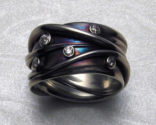 Interwoven, multiple strand, freeform wedding ring. ring.