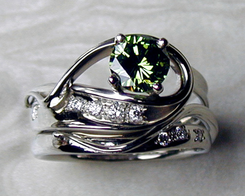 green diamond engagement ring set - Green Wedding Rings