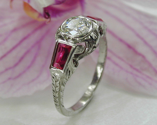 Antique style scroll engagement ring.