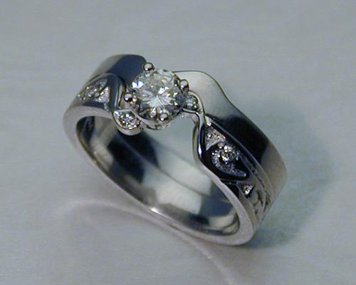 interlocking engagement ring wedding band set - Engagement Rings With Wedding Band