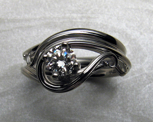 Organic, Art Nouveau style engagement ring set.