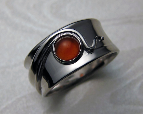 Wraparound free-form band with carnelian stone.