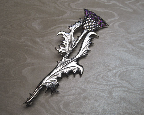 Scottish thistle, kilt pin brooch.
