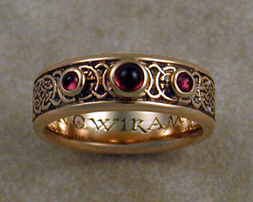 8th to 9th century celtic wedding band with garnets - Viking Wedding Rings