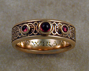8th to 9th century celtic wedding band with garnets - Norse Wedding Rings