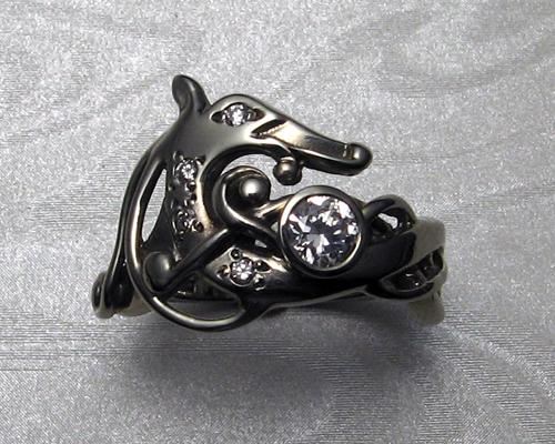 Viking dragon engagement-wedding ring.