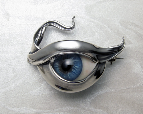 All seeing eye prosthetic glass eye set in sterling silver all seeing eye glass eye brooch mozeypictures Images