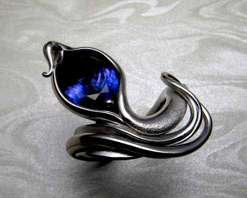 Organic, free-form tanzanite ring.