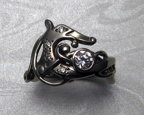 Viking Dragon Engagement Ring in 14k White Gold Metamorphosis Jewelry