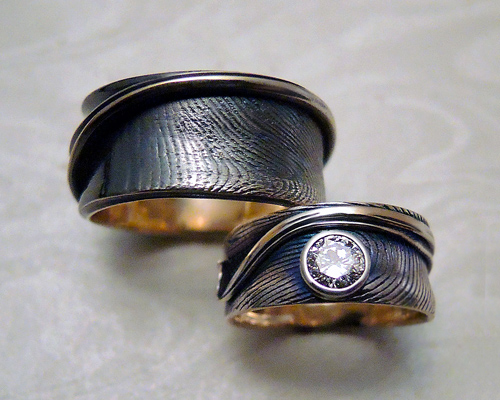 Fingerprint wedding engagement bands Metamorphosis Jewelry