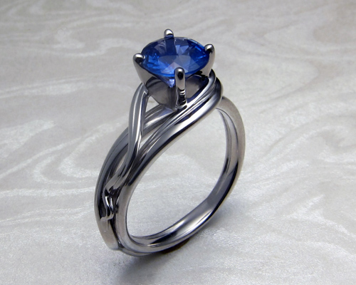 Fluid, organic, Tanzanite engagement ring.