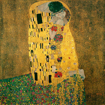 One of Gustav Klimt most famous paintings, The Kiss.