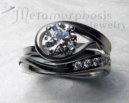 Interlocking engagement ring wedding band set Metamorphosis Jewelry