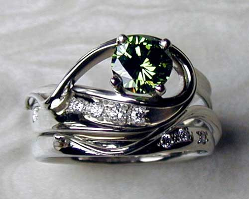 Green diamond engagement ring set.