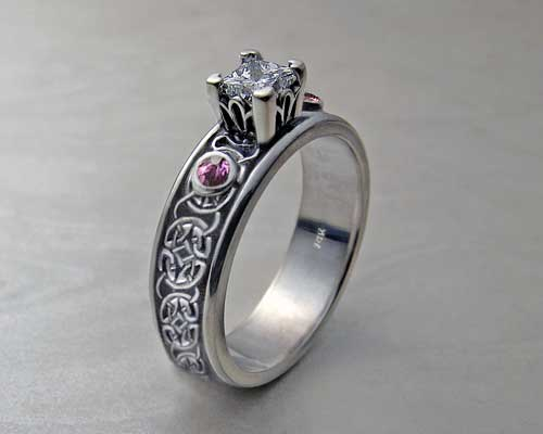 Princess Cut Celtic Engagement Rings