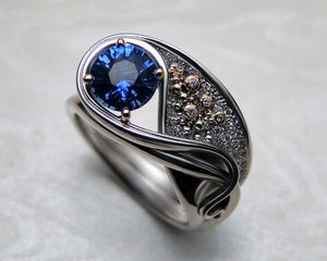 Gustav Klimt inspired, Art Nouveau engagement ring.