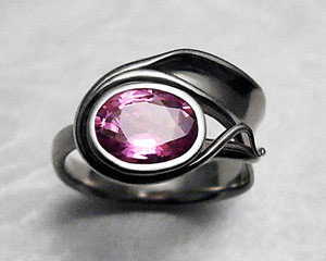 One-of-a-kind, pink sapphire engagement ring set.