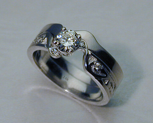 interlocking engagement ring and wedding band set in 14k white gold - Interlocking Wedding Rings