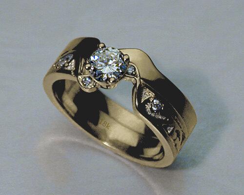 Interlocking Engagement Ring And Wedding Band Set In 18k Yellow Gold