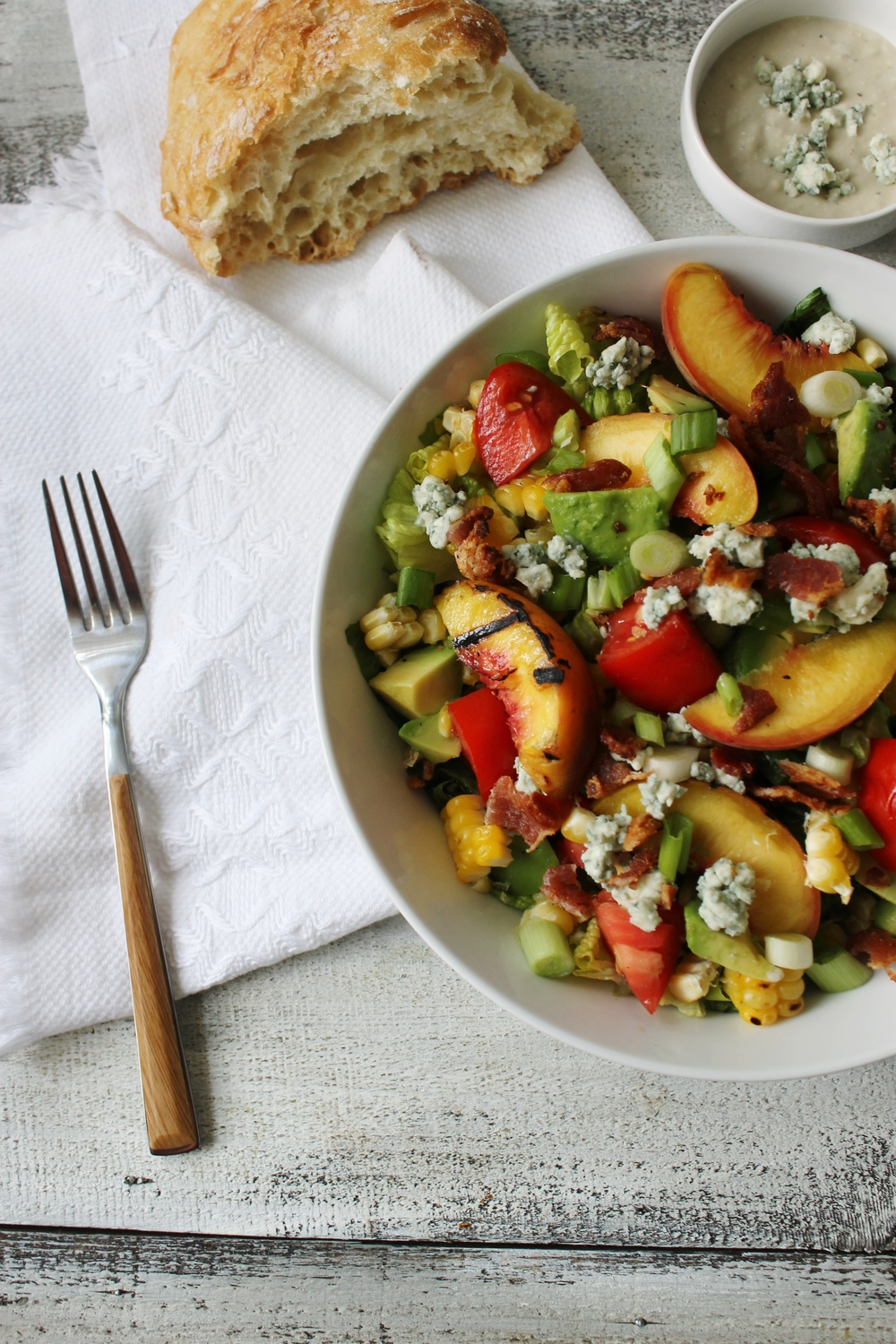 Grilled Romaine and Peach Cobb Salad - My Diary of Us