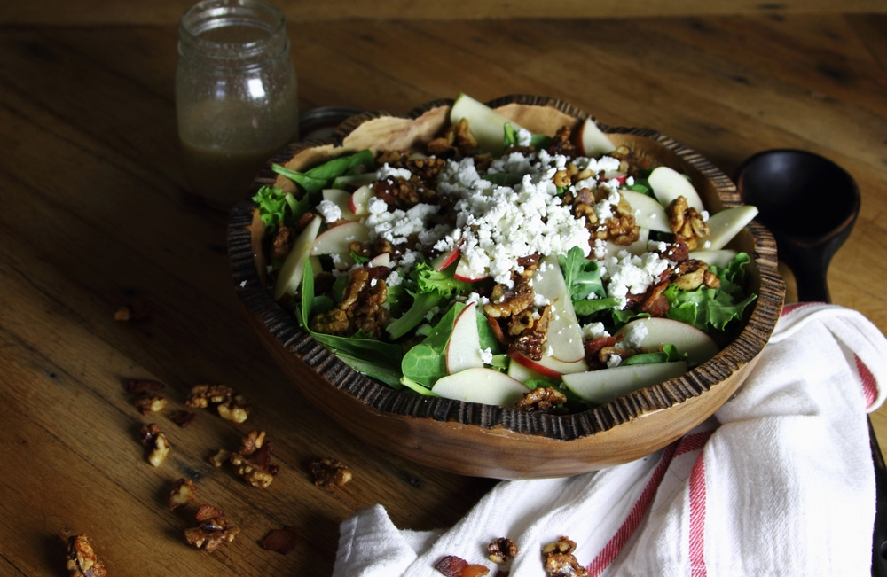 Apple, goat cheese, and spiced bourbon and bacon walnut salad: My Diary of Us