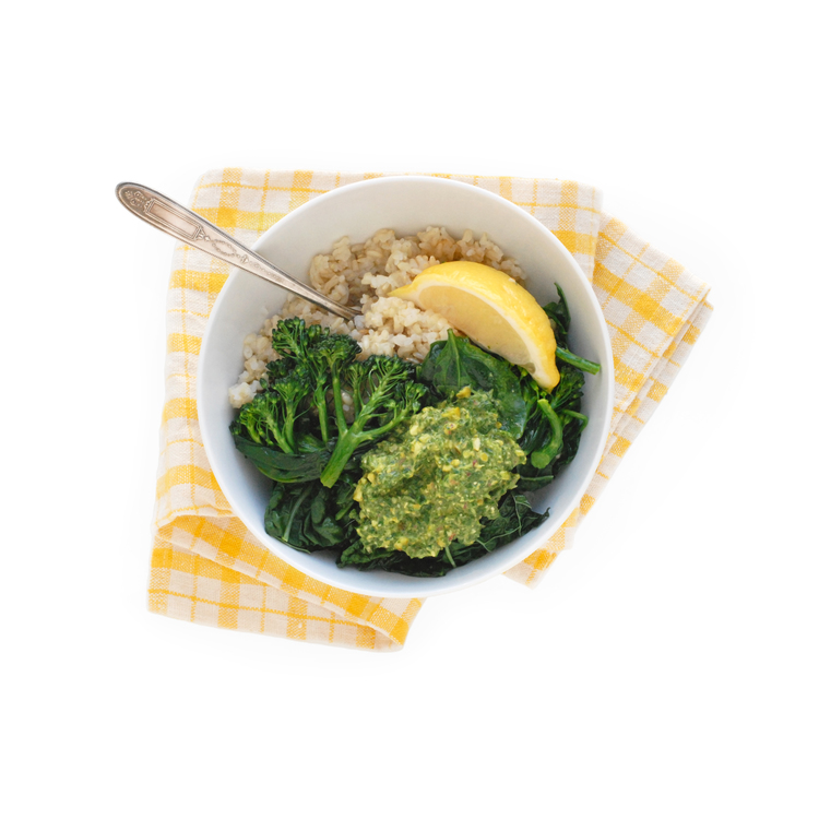 Brown Rice, Greens, and Pesto Bowl: Eat. Real. Food.