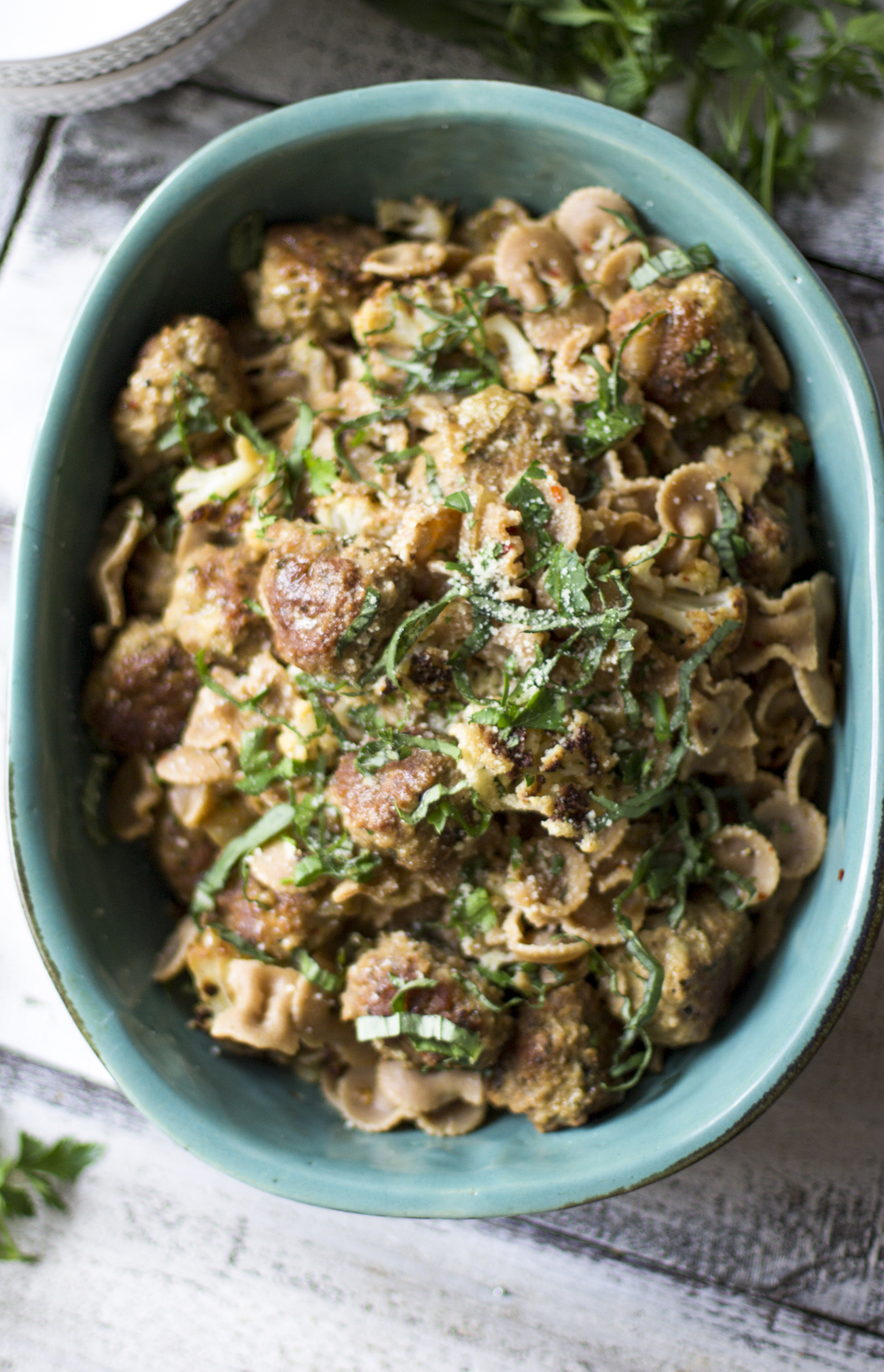 Roasted Cauliflower and Whole Wheat Pasta with Pork Meatballs: My Diary of Us