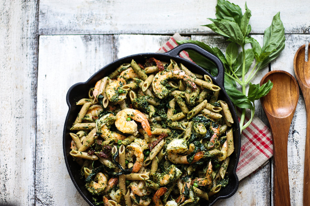 Healthy Whole Wheat Shrimp Pasta with Kale Pesto: My Diary of Us
