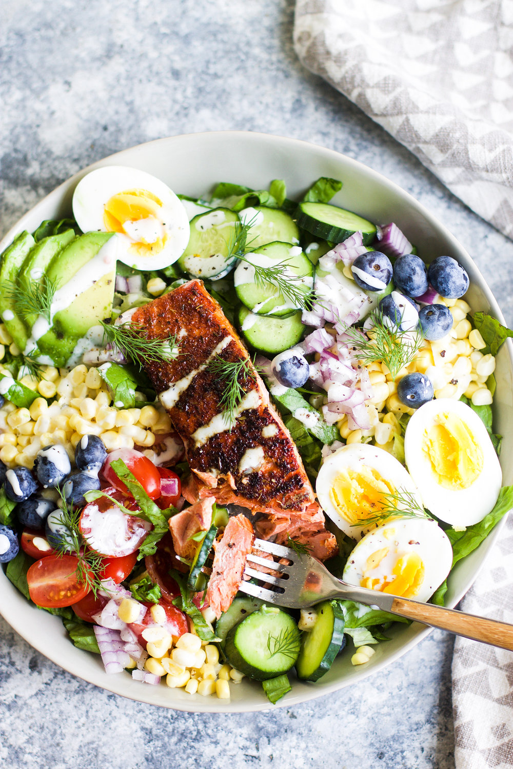 Healthy Blackened Salmon Cobb Salad: My Diary of Us