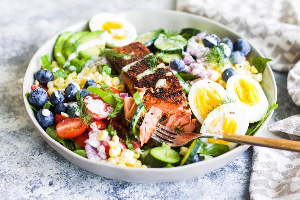 Healthy Blackened Salmon Cobb Salad: My Diary of Us