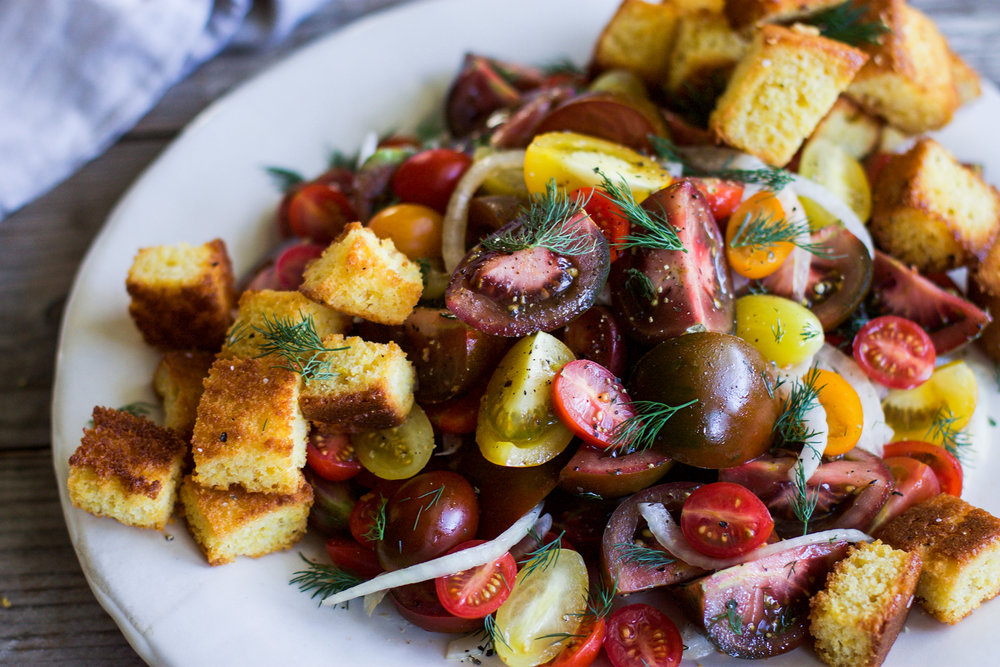 Garlic Dill Tomato Salad with Cornbread Croutons: My Diary of Us