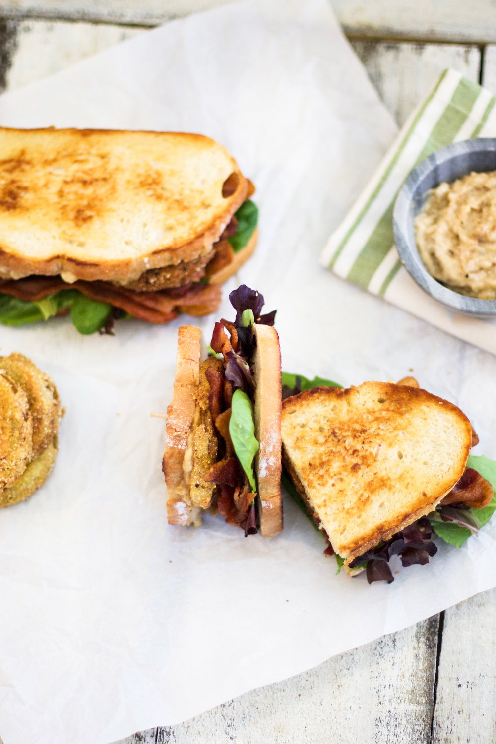 Fried Green Tomato BLT's with Caramelized Onion Mayo: My Diary of Us