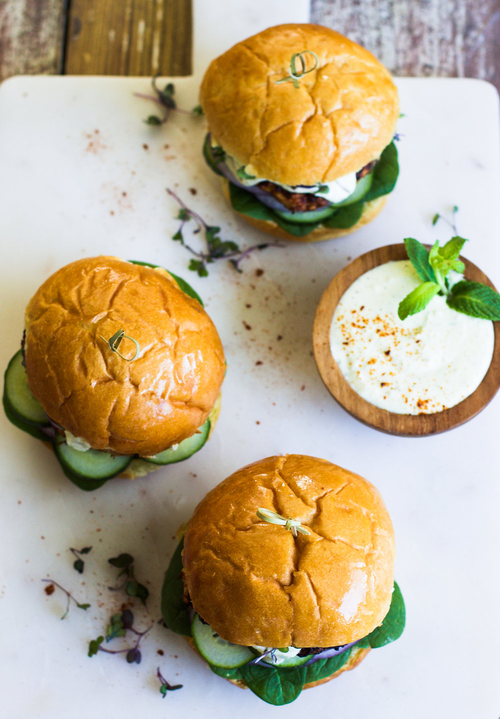 Harissa Chicken Burgers with a Citrus Mint Feta Spread: My Diary of Us