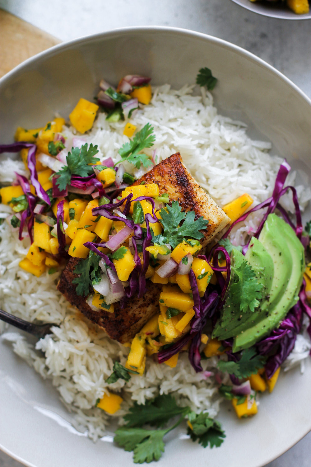Coconut Rice Fish Taco Bowls with Mango Pico de Gallo: My Diary of Us