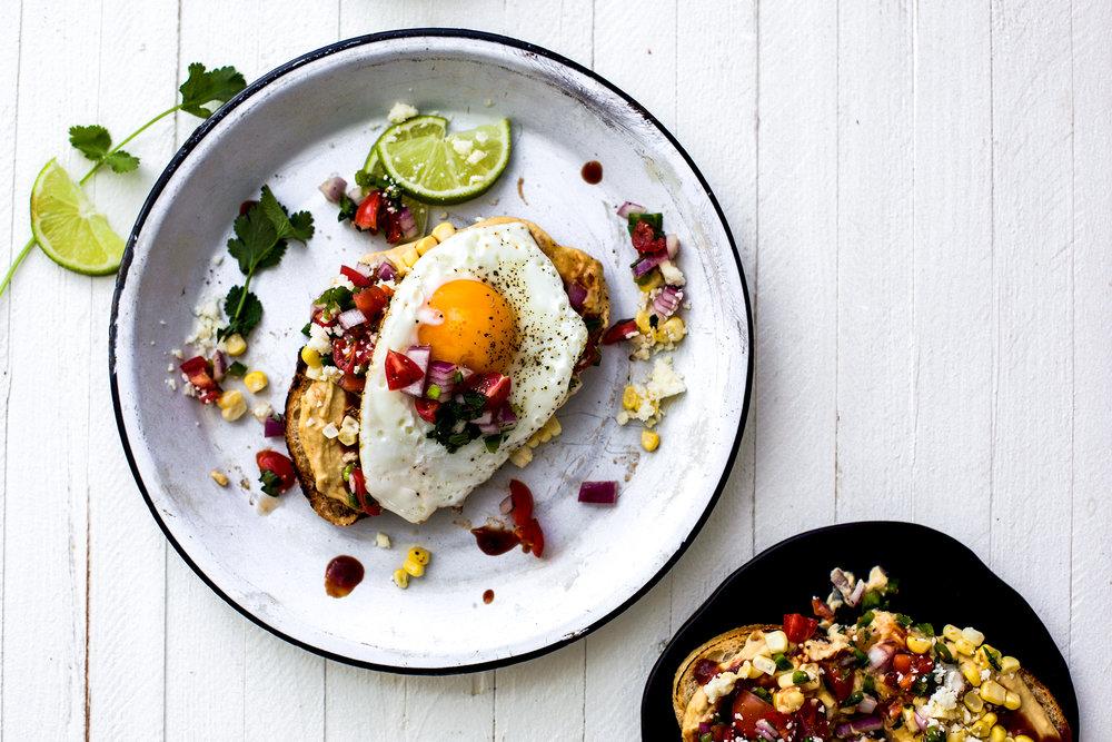 Tex-Mex BBQ Hummus Toast with Fried Egg