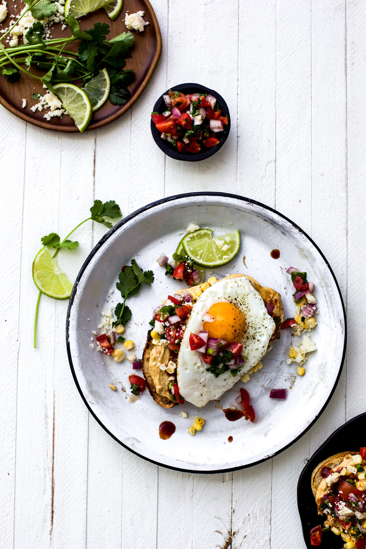 Tex-Mex BBQ Hummus Toast with a Fried Egg