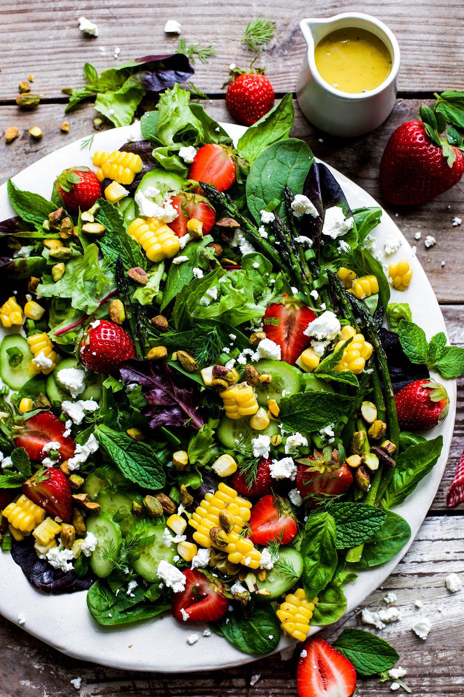 Roasted Asparagus Strawberry Herb Salad