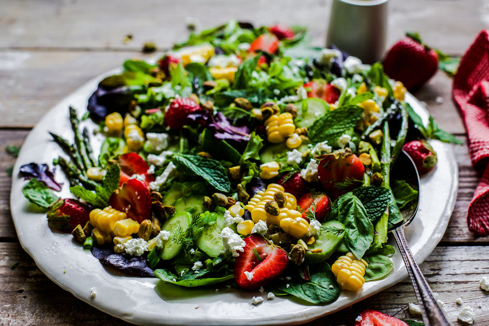 Roasted Asparagus Strawberry Salad with Tahini Honey Mustard