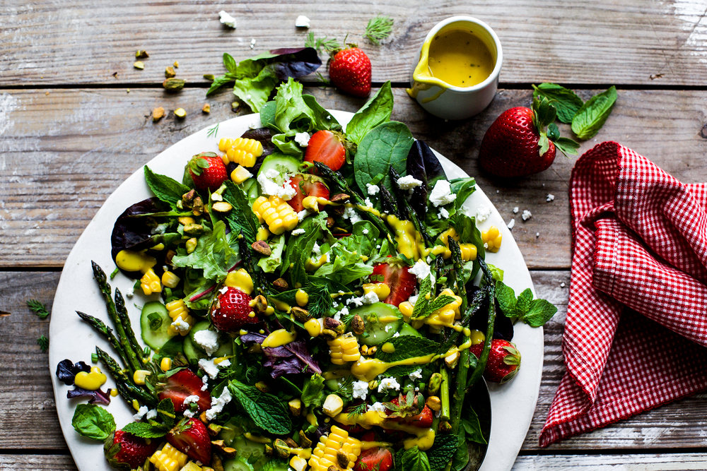 Strawberry Salad with Roasted Asparagus