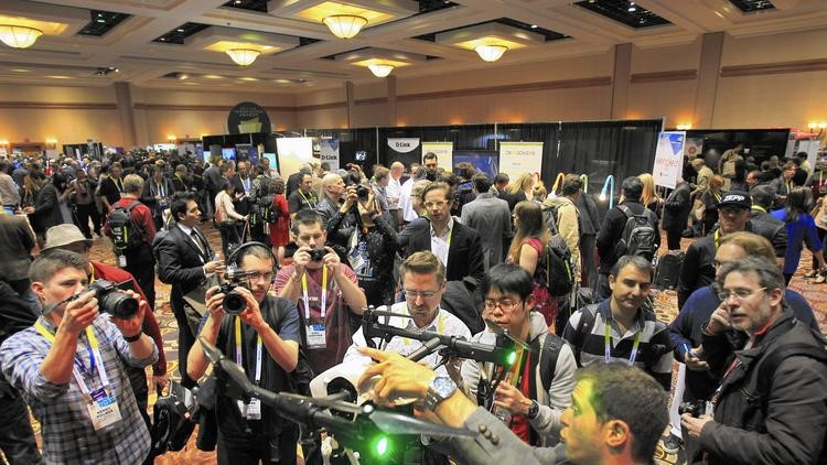 Drone manufacturer DJI shows off the Inspire 1 at the International Consumer Electronics Show  (Allen J. Schaben / Los Angeles Times)