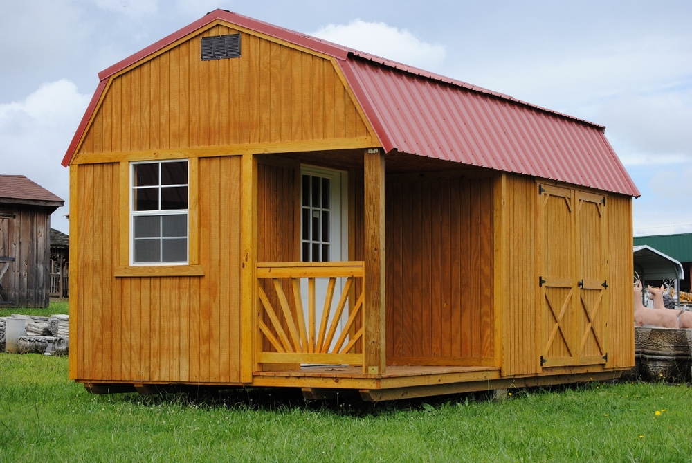10x20 Lofted Barn with side porch package & Treated Wooden Buildings u2014 Mayse Mfg. Co. Outdoor Products