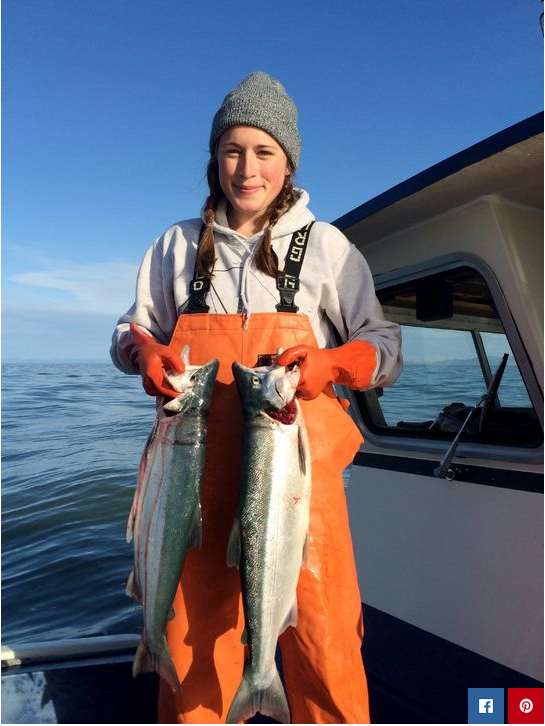 Women fishing in Alaska, image via Glamour Magazine.