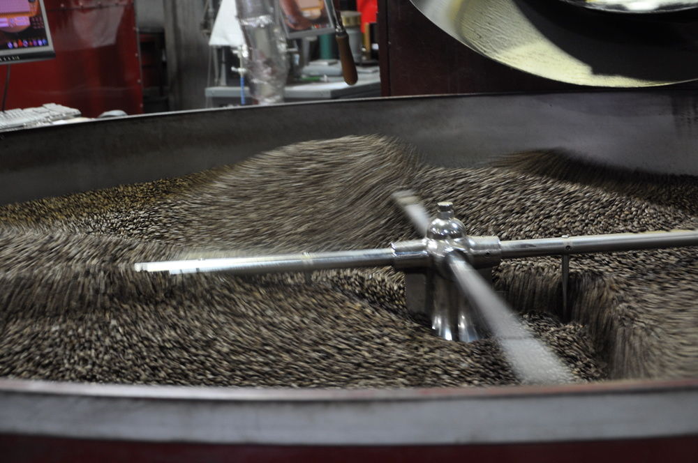 Coffee beans getting ready for your morning at Oakland, CA's own Mr. Espresso.