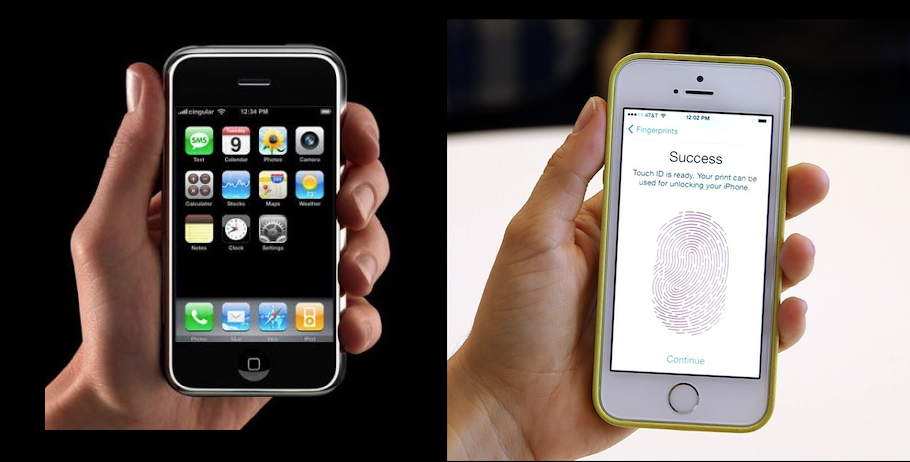 Original iPhone and iPhone 5s.