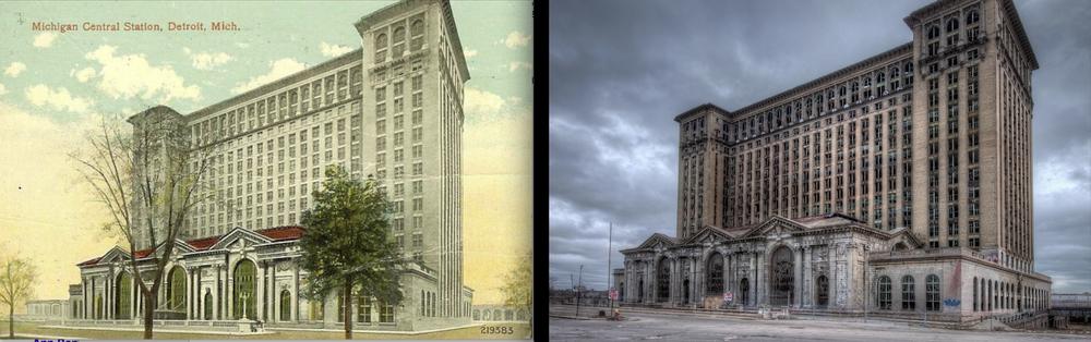 Michigan Central Station, Detroit, MI - bustling transportation hub for decades