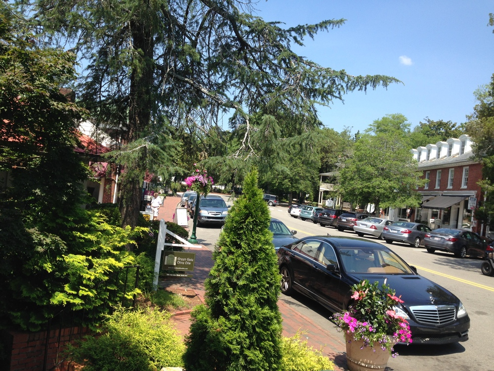 { Pinehurst Village..Surrounded by lush trees and flowers }