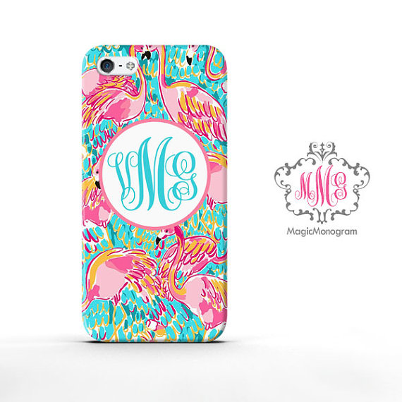 Adorable Monogrammed Flamingo Iphone Case by  Magicmonogramm on Etsy